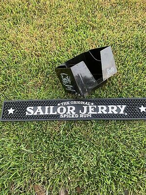 Sailor Jerry Spiced Rum Napkin Caddy & Bar Rail Mat Combo Set