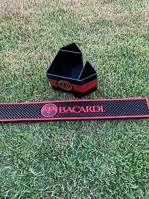 Bacardi Rum Napkin Caddy & Bar Rail Mat Combo Set
