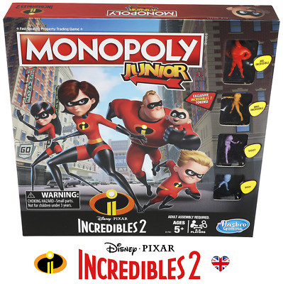 Incredibles 2 Kids//Children Property Trading Board Game 2PK Monopoly Junior 5y