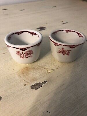 Sterling China Made For York Kitchen Set Of 2 Tea Cups Red Flowers