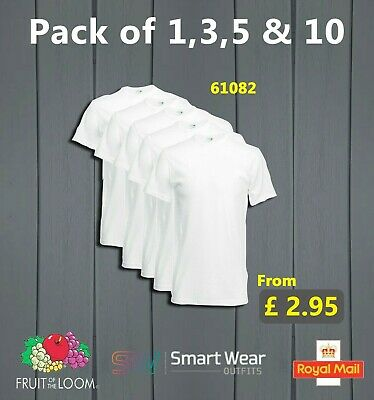 Pack of 1 3 5 10 (Lot) Men's Fruit Of The Loom 100% Cotton White T Shirts 61082