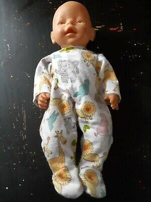 Homemade Baby Born White With Zoo Animals Coverall