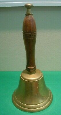 Antique Large Brass Dinner or School Bell Wood Handle Hand Held LOUD 10-1/2""