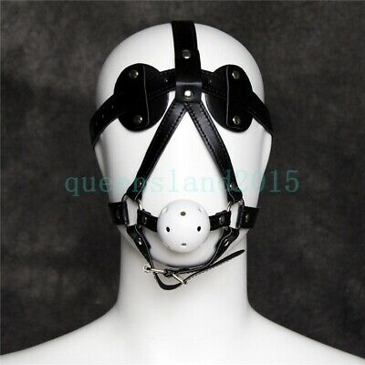PU Leather Blindfold Eye Mask + Breathable Open Mouth Ball Gag Slave Harness