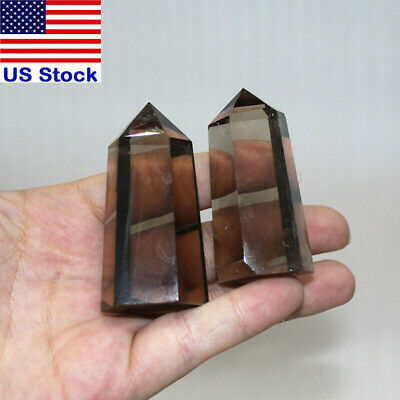 2PCS Natural Smokey Citrine Quartz Obelisk Crystal Wand Point Healing Gift
