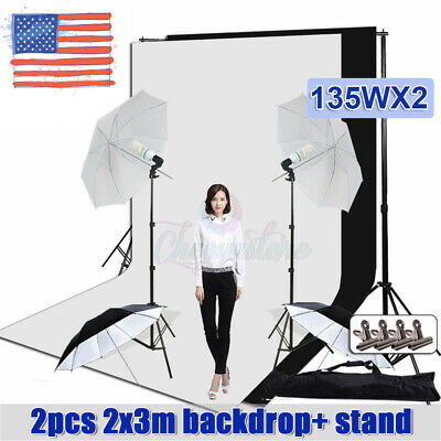 Photography Studio Umbrella Continuous Lighting Kit & Photo Backdrop Stand Set