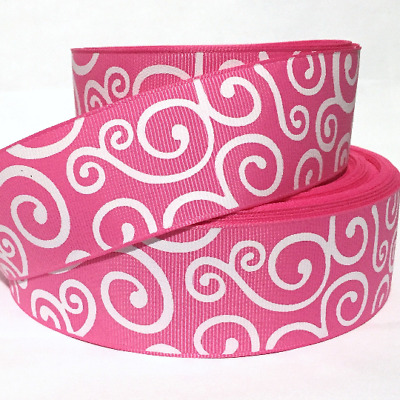 "GROSGRAIN RIBBON 1.5"" Swirls on Pink 7 PRINTED 1,3, 5 YDS BULK"