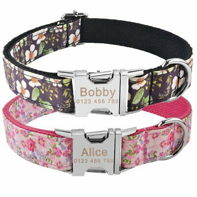 Floral Nylon Personalized Dog Collar Small Large Pet Engraved Name ID Tag Tough