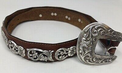Vintage Tony Lama Women's Concho Brown Leather Silver Accents Belt Size 32 USA