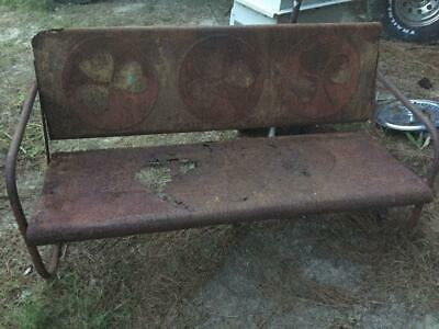 Vintage Metal 3-Seat Porch Bench Seat w/Unique Clover Hard to Find Design RUSTY!