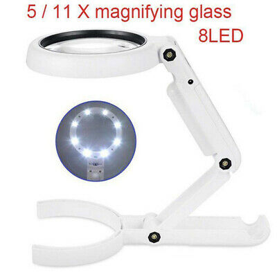 5 / 11X Magnifying Glass With Light 8 LED LAMP Magnifier Foldable Stand Table UK