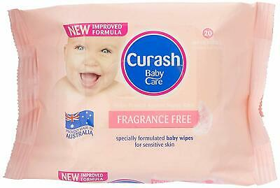 Curash Baby Wipes Fragrance Super Thick Soft Resealable Free Travel 3 Pck x 20pc
