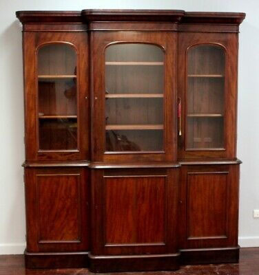 Antique Mahogany Bookcase Cabinet Breakfront Three Door Circa 1880 Victorian