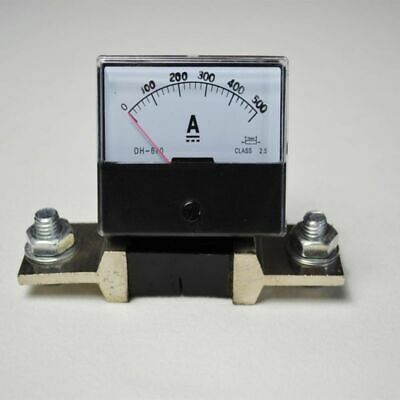 DC 0-500A TOP Ammeter Gauge Analog Panel AMP Current Meter + Shunt Resistor