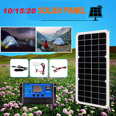 10/15/20W Foldable USB Solar Panel Power Bank Battery Phone Charger Controller