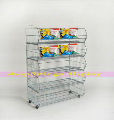 5 x Stackable Basket Unit Display Retail Shop Home Storage 1000mm With Castors