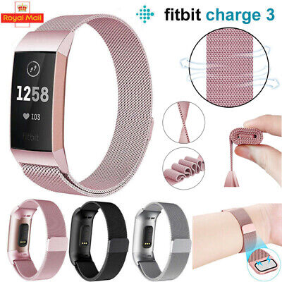 For Fitbit Charge 3 Milanese Strap Band Wristband Bracelet Replacement Magnetic