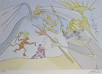 "SALVADOR DALI "" the Elephant and the Monkey "" HAND SIGNED 121/250 Orig. Etching"