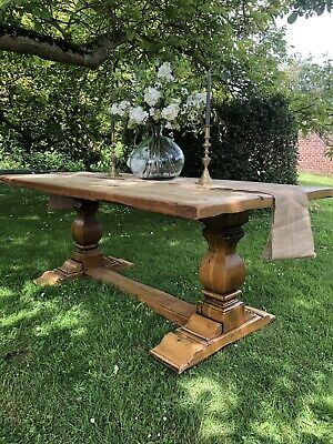Large Antique Victorian Pine Refectory Farmhouse Kitchen Dining Table French