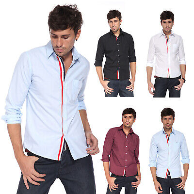 Fashion Mens Casual Formal Long Sleeve Slim Fit Shirt Dress Suit Polo Top Tee