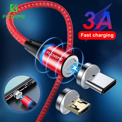 1M 2M Magnetic Type C Micro USB 3A Fast Charger Charging Sync Cable For Andriod