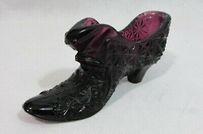Vintage Fenton Daisy And Button Amethyst Purple Cat Head Glass Slipper Shoe