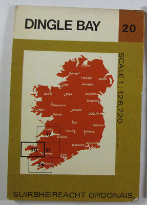 1972 Old Vintage OS Ordnance Survey of Ireland Half-inch Map 20 Dingle Bay