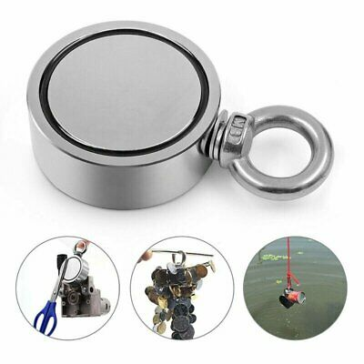 Double Side Super Strong Fishing Magnet Neodymium Pulling Force 300KG Round 60mm