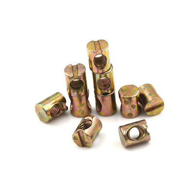 10pcs M5 Barrel Bolts Nut Cross Dowel Slotted Furniture Nut for Beds Chair  FE