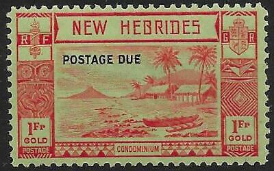NEW HEBRIDES SGD10 1938 1f RED/GREEN POSTAGE DUE MNH