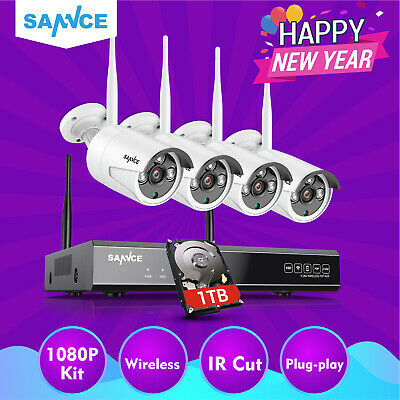 SANNCE 8CH Wireless CCTV 1080P HDMI NVR IP 960P Camera Security System IR Cut 1T