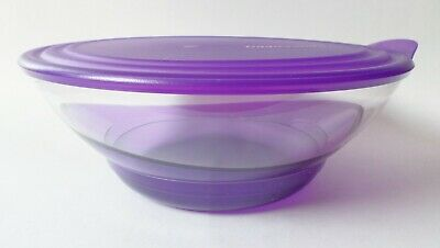 Tupperware Sheerly Elegant Acrylic Large Covered Serving Bowl Purple 3.2L