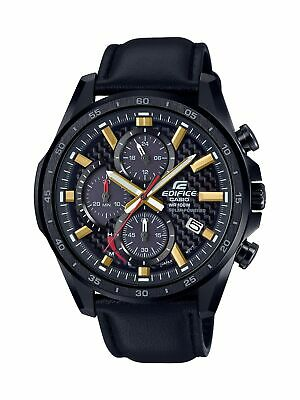 b7cf27ba0c1e Casio Men s Edifice Black Stainless Steel   Leather Quartz Watch  EQS-900CL-1AV