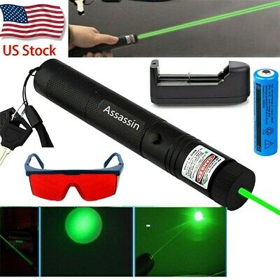 200Miles Green Portable Laser Pointer Pen Ultra Bright Funny Pen+Safety Glasses