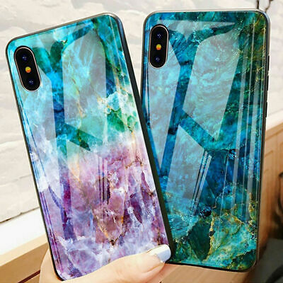 6D Luxury Marble Glass Case for iPhone 7 Plus XS Back Tempered Glass+TPU Cover