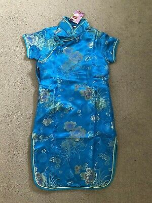 GIRLS SHORT SLEEVED CHINESE DRESS Age 6 FROM SINGAPORE TURQUOISE & GOLD