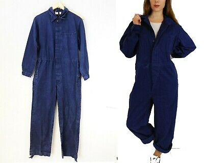 Vintage French Herringbone Twill Workwear Overalls Navy Blue - Various Sizes