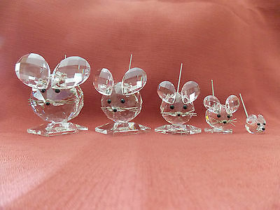 Swarovski Crystal King, Large, Medium, Small & Mini Mouse Family Sale Euc*******