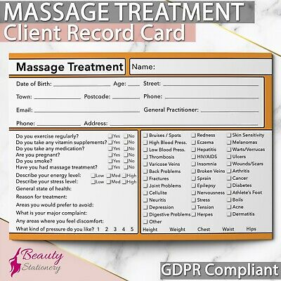 GDPR Compliant Client Record Card NEW - Massage A6