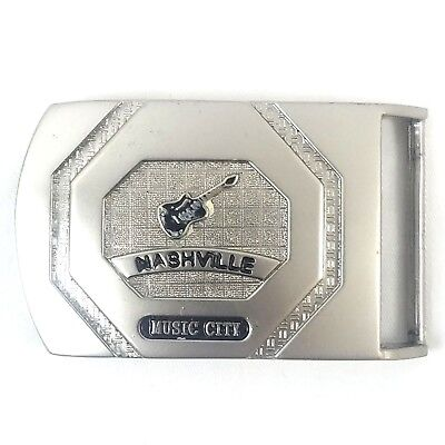 Vintage Nashville Music City - Guitar - One Piece Solid Metal Belt Buckle - RARE