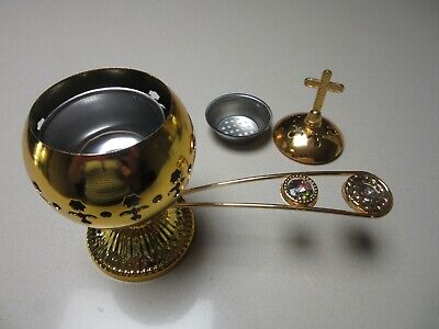 Eastern Orthodox Christian Gold Tone Metal Censer Incense Burner Cross Handle