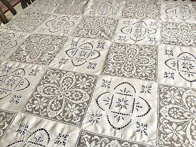 Vintage Hand Embroidered White Linen & Lace Blue Embroidery Tablecloth 49x50""