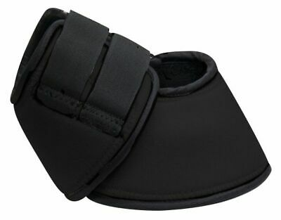 Showman LARGE BLACK Neoprene No Turn Horse Bell Boots w/ Velcro! NEW HORSE TACK