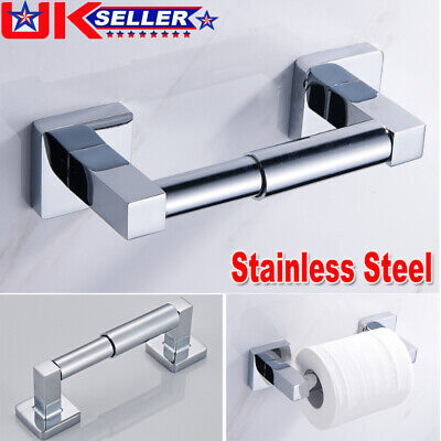 Square Modern Bathroom Toilet Roll Holder in Chrome Wall Mounted Design UG