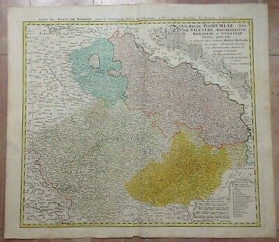 Bohemia Czech Republic Poland Dated 1748 Homann Hrs Large Antique Engraved Map