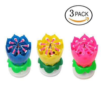 Birthday Candles Colorful Musical Candle Lotus Rotating Play Music 3 In One Pack