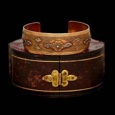 Antique Vintage Art Nouveau 10k Yellow Gold Arts & Crafts Wedding Cuff Bracelet