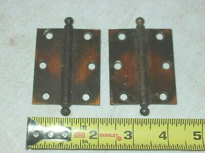 4 Pair (8) Vintage Arts Crafts Copper Wash Flash Cannon Ball Top Tip Door Hinges