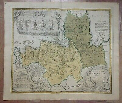 Russia Ingria St Petersburg Dated 1734 Homann Hrs Large Antique Engraved Map