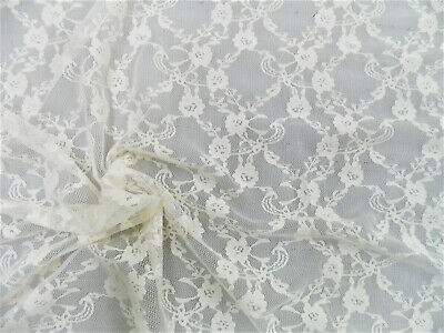 """Lace Ivory Floral Pattern 60/"""" 1-Way Stretch Soft Lace Fabric by Yard D166.23"""